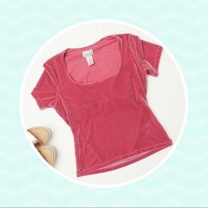 Vintage 90s Pink Crushed Velvet Short Sleeve Shirt